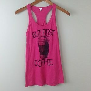 """But First Coffee"" Racerback Tank Top"